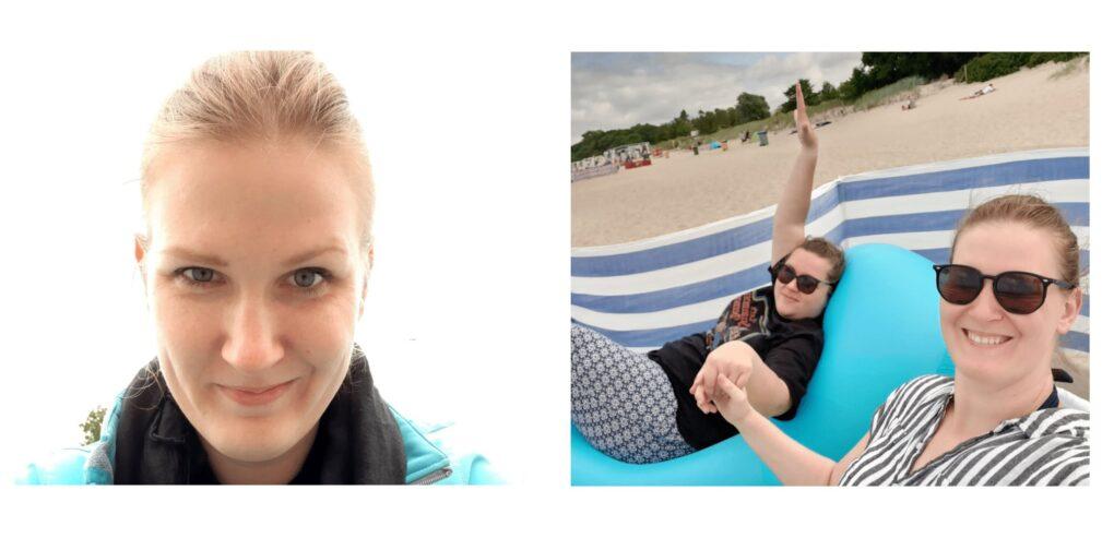 Zdjęcie łączone. Zdjęcie portretowe młodej dziewczyny. Drugie to ta sama dziewczyna z koleżanką leżą na plaży. Obie w okularach przeciwsłonecznych.