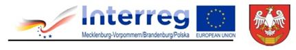 Logotypy Interreg zawiera flagi Niemiec i Polski spięte gwiazdkami, oraz napis Interreg. Flaga Unii Europejskiej żółte gwiazdki ułożone w okręgu na niebieskim tle. Herb Powiatu Wałeckiego, biały orzeł na czerwonym tle, pod nim żółta łódka.